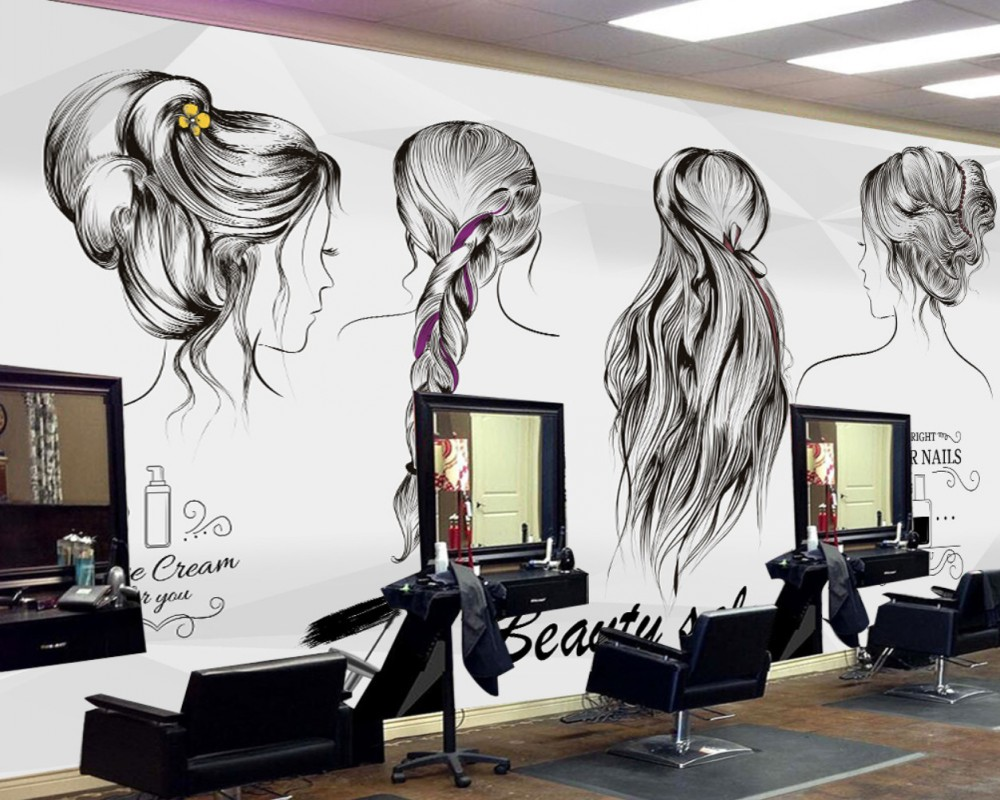 Custom 3D Beauty Salons Wallpaper Europe And The United State Industrial Cement Wall Beauty Salon Barber Shop