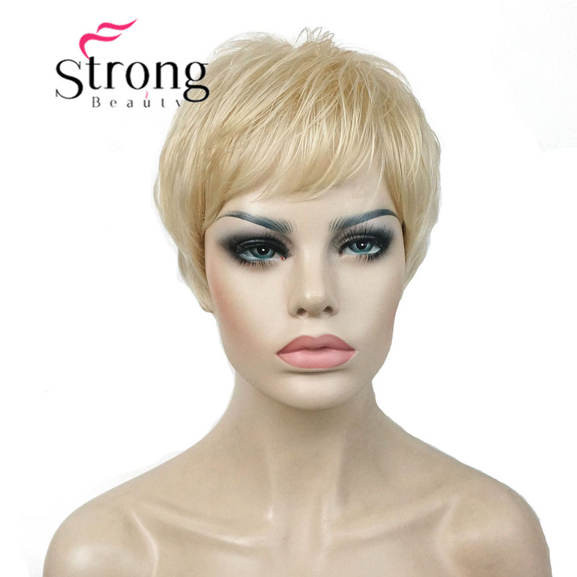 StrongBeauty Super Short Layered And Spikey Blonde Full Synthetic Wig Wigs Black Brown COLOUR CHOICES
