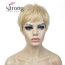 Strongbeauty 슈퍼 짧은 레이어드 및 spikey 금발 전체 합성 가발 가발 블랙 브라운 색상 선택