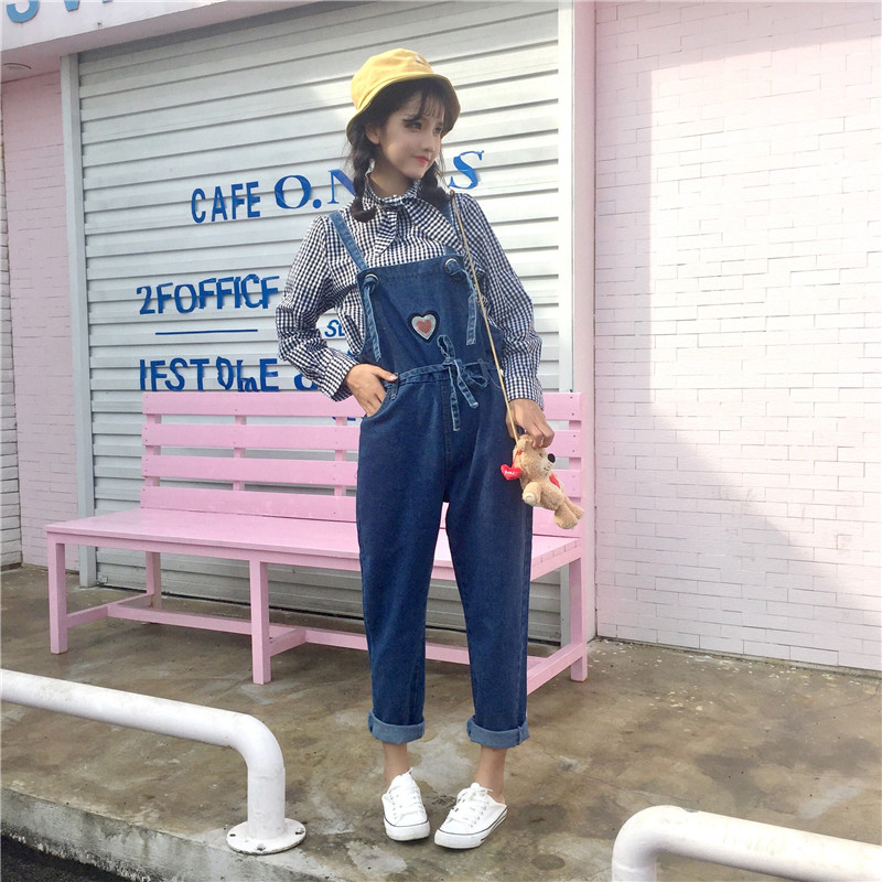 Jeans Kawaii Cartoon Cat Embroidery Pocket Adjustable Strap Romper Lolita Soft Sister Girl Jumpsuit Denim Jean Trouser Plus Size Pant