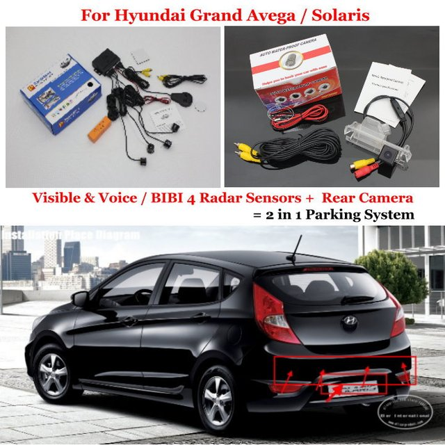 For Hyundai Grand Avega / Solaris - Car Parking Sensors + Rear View Camera = 2 in 1 Visual / BIBI Alarm Parking System
