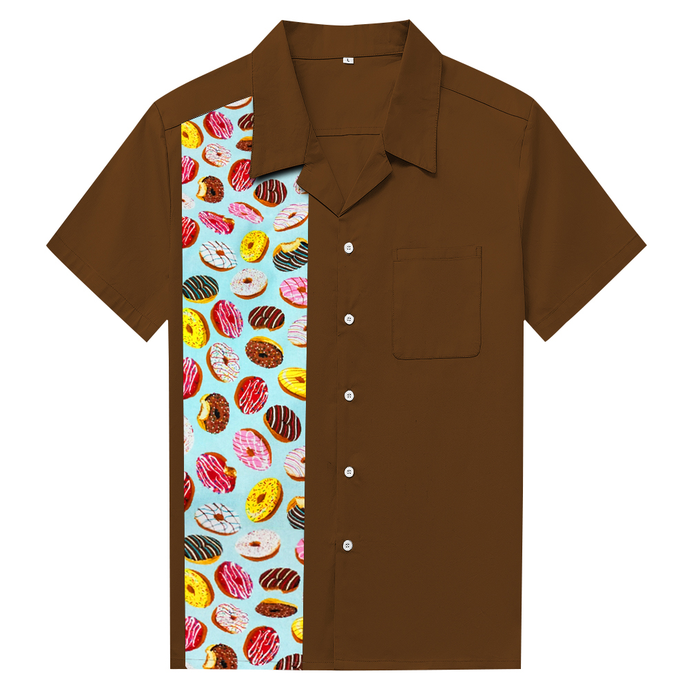 Steampunk Style Men s Rockabilly Shirt With Doughnut Brown Blouse Single  Breasted Cotton Short Sleeve Mens Clothing ec6216a5082