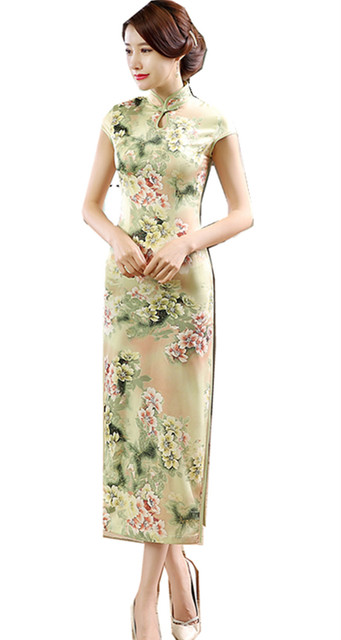 d77407df1f2734 Shanghai histoire imprimé Floral robe orientale longue Qipao chinoise  traditionnelle cheongsam style chinois 2 styles