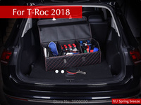 Car Styling Car Trunk Foldable Storage Box Top Grade Leather Storage Box For VW T Roc 2017 2018