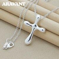 925 de plata Cruz colgante de joyería collares para mujeres de plata de los hombres collar de la joyería