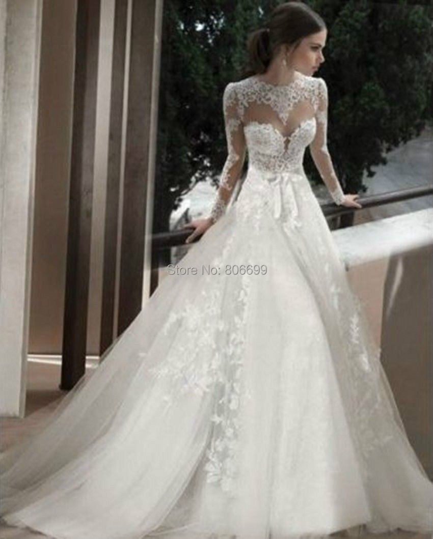 Simple Elegant Open Back Long Sleeve Wedding Dress: Custom Made Elegant Lace Appliques Long Sleeve Open Back