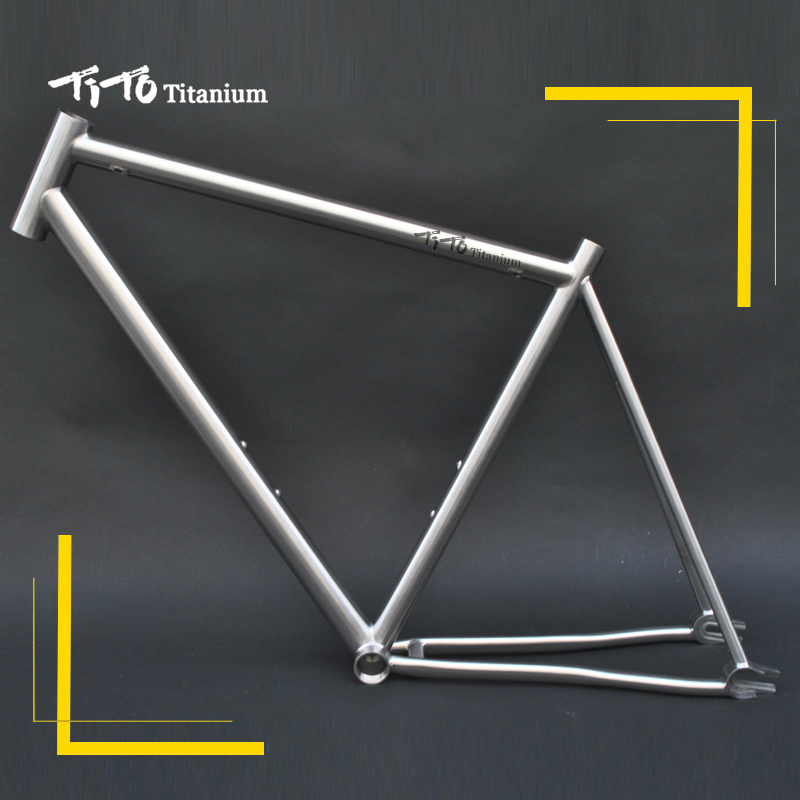 FREE SHIPPING !!! TiTo track and fixed gear single speed bike frame 700C titanium road bicycle 1pcs magnesium alloy single speed fixed gear bike wheels 700c road racing venues inch wheel bicycle accessories