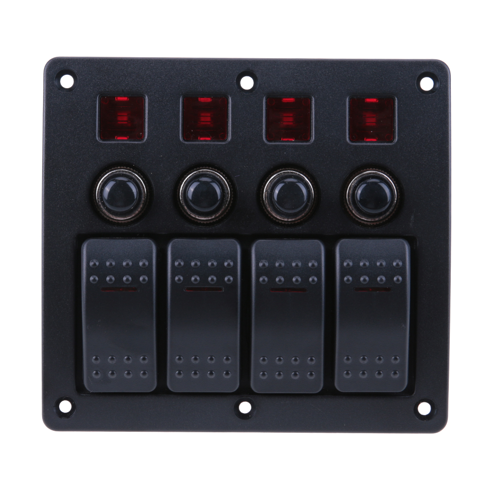 4 Gang LED Car Boat Rocker Switch Panel + 3P red rocker switch+PCB board+ circuit breaker LED Switch Panel for automobiles ships diy rocker switch for car vehicle black red 11cm