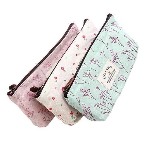 Hot Sale New Flower Floral Pencil Pen Canvas Case Cosmetic Makeup Tool Bag Storage Pouch Purse