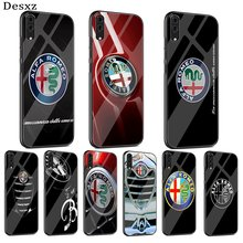 Glass Mobile Phone Case For Huawei P30 P10 P20 7A Y6 Y9P Smart Mate 20 Honor 9 10 8X Lite Pro Cover Alfa Romeo Logo(China)