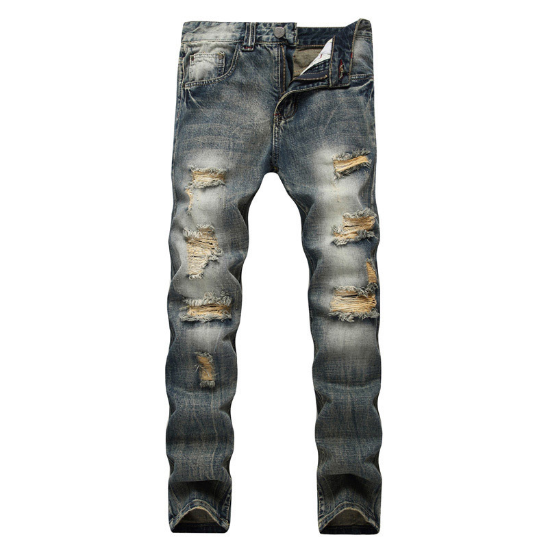 2018 new blue hole section designer Street retro sanding stretch jeans tattered straight slim trousers for men