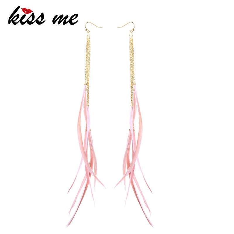 KISS ME Women Long Earrings 2019 Newest Ethnic Style Feather Tassel Dangle Earrings Fashion Jewelry