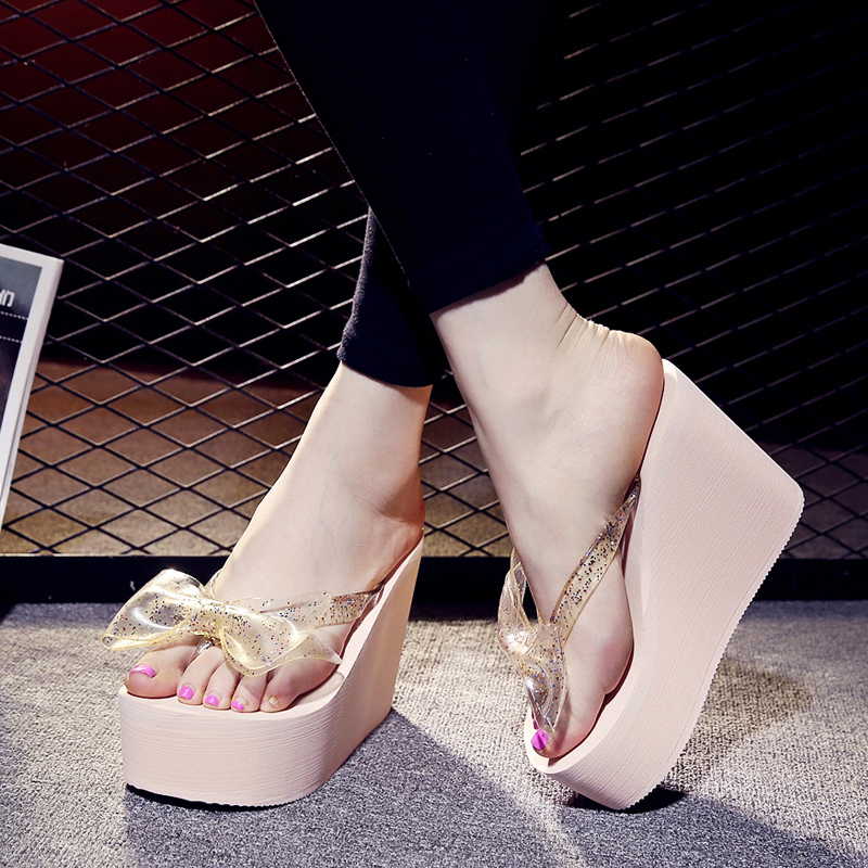 bow-knot High Heels Women Flip Flops Summer Sandals Platform Wedges Slippers EVA Bow Fashion Beach Shoes Woman