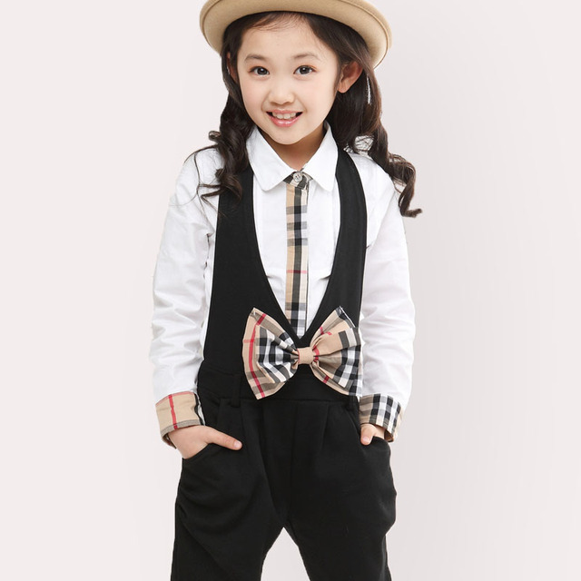 Girls Clothing Sets Casual Spring Girls Clothes Long Sleeve Shirts+Overalls Sets Black Infant Vestidos Autumn Children Sets 3-12