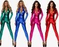 4 Colors Sexy Women Shiny Catsuit Vinyl Fish Scale Bodysuit Faux Leather Women Stretch Metallic Clubwear Zipper PVC Jumpsuit