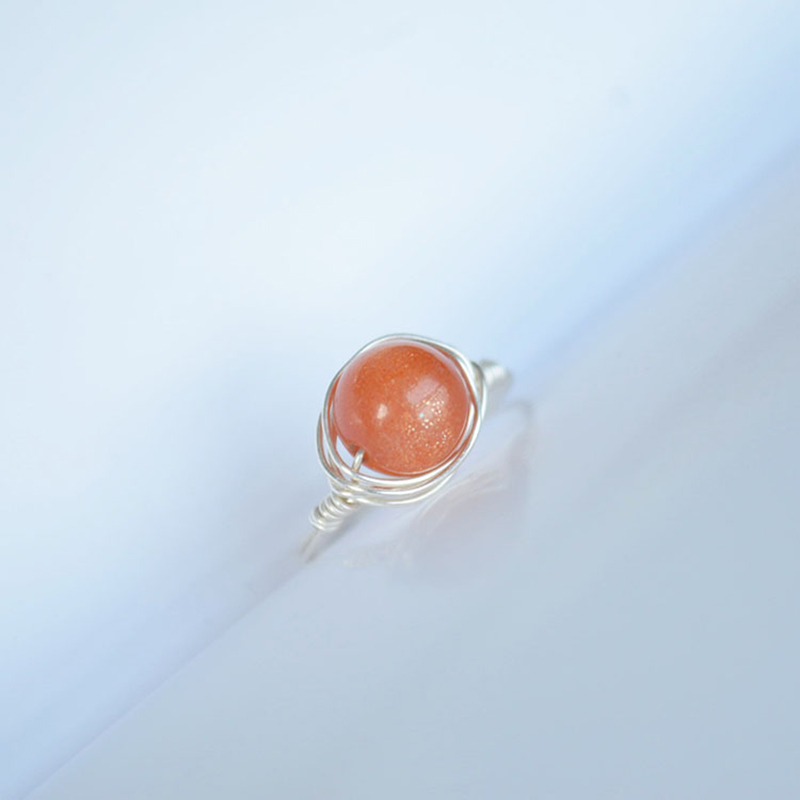 Sunstone Natural Stone Birthstone Solitaire 925 Sterling Silver Wire Wrapped Wedding Rings For Women Jewelry Boho Vintage Ladies in Wedding Bands from Jewelry Accessories