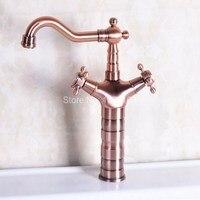 Vintage Red Copper Antique Brass Dual Cross Handles Swivel Spout Bathroom Basin Kitchen Sink Faucet Cold