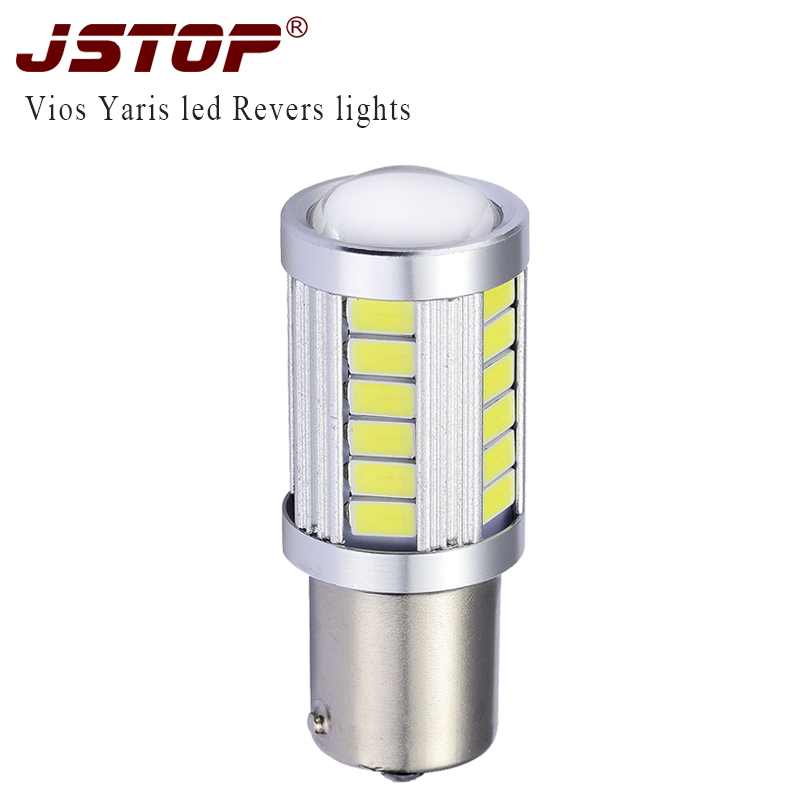 JSTOP high quality led car Reverse lamp 5730SMD 1156 white 6000k Ba15s Canbus Bulbs 12V P21W car external lights Reversing bulbs