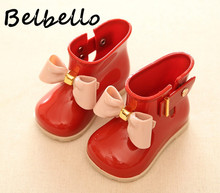 Belbello Baby Girls Rainboots Children Flats Kid Shoes Ankle Boots Slip On Sweet Bowtie Fashion Casual Round Toe Soft Sole Shoes