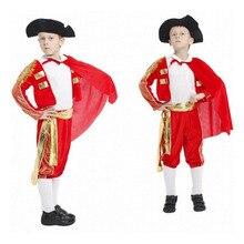 Matador косплей костюм для мальчика Хэллоуин костюм для детей Bullfighter Стиль косплей костюм Рождество испанский карнавал костюм
