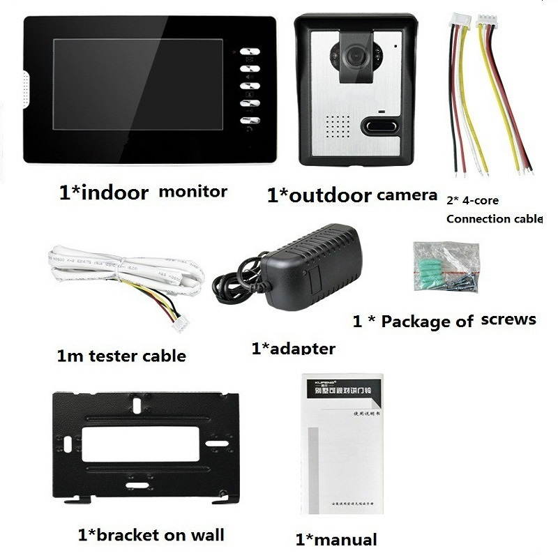 Купить с кэшбэком 7 inch TFT LCD Touch Video Door Phone Intercom Doorbell Outdoor Infared Security Camera Lock Control Monitor Door Bell Door Ring