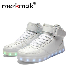 New 2016 Big Size 35-46 USB LED Light Shoes Men Male 7 Colors Glowing Fashion Led Shoes Flats High-top Adults Lumineuse Shoes