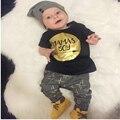 Новорожденного мальчика одежда 2016 марка дети одежда наборы футболка + брюки костюм младенческой одежды набор печатных новорожденных bebe костюмы!