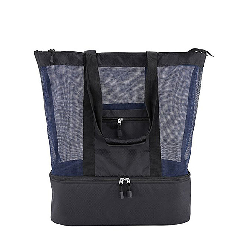Women Mesh Beach Tote Bag With Zipper Top Active Insulated Picnic Cooler Bag Hot Swimming And Camping Bags Beach Handbag