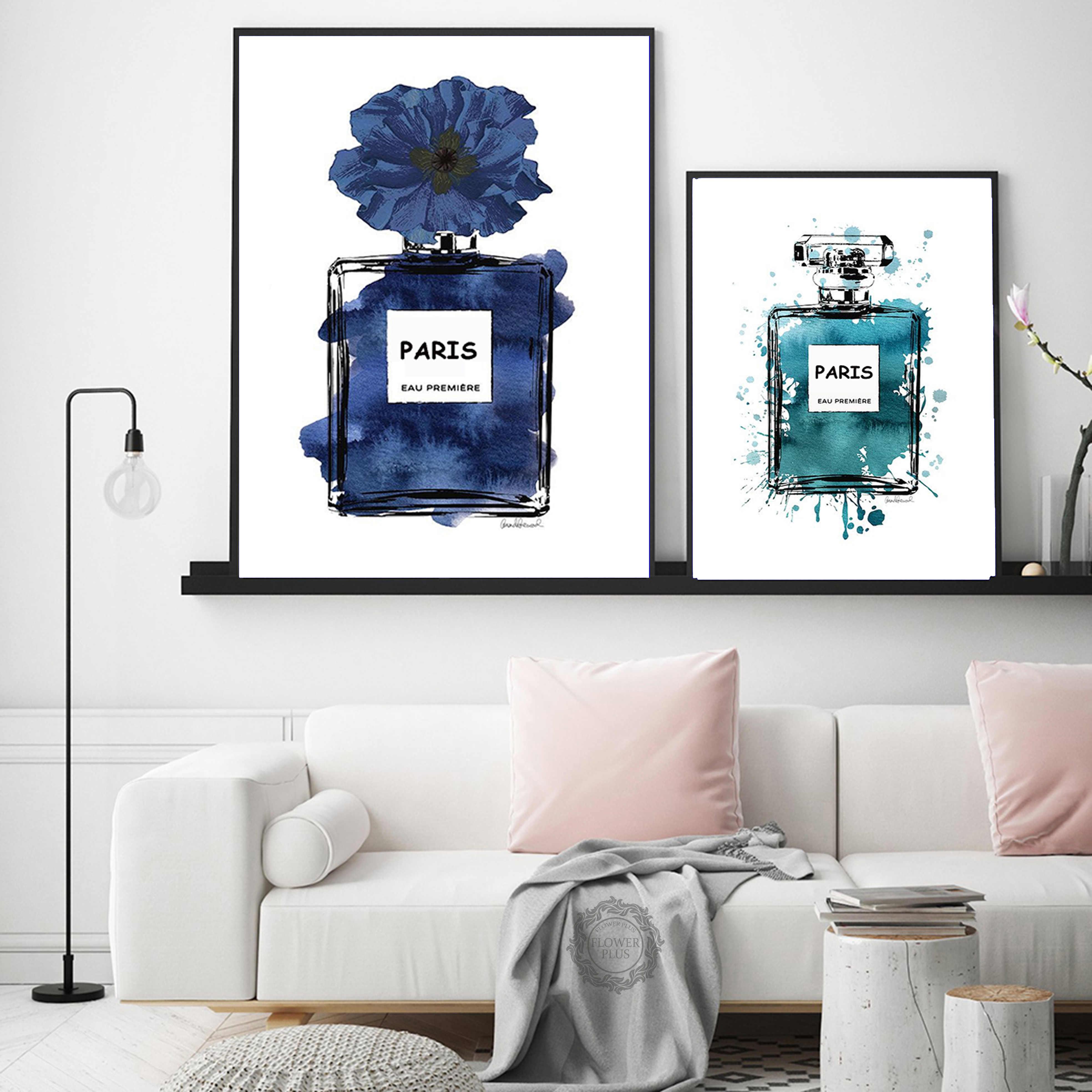 Nước Hoa COCO Hoa Mẫu Đơn Treo Tường Hoa Tranh Canvas Nghệ Bắc Âu Áp Phích Và Hình In Màu Nước Treo Tường Hình Ảnh Cho Phòng Khách Trang Trí Treo Tường