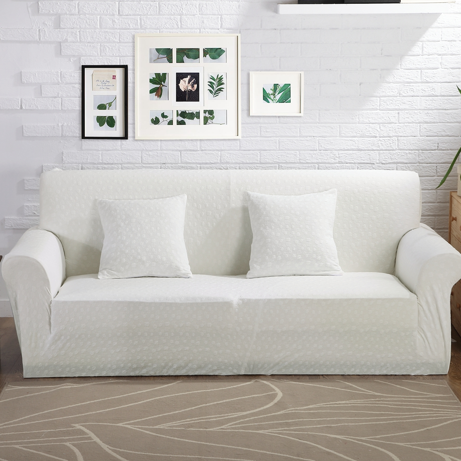 Buy 100 Polyester Knitted Fabric White Stretch Sofa Cover For Living Room