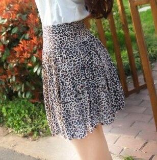 FORERUN 2018 Summer Skirt Mini Fashion High Waist Skirts Pleated Flower Leopard Print Women Skirts