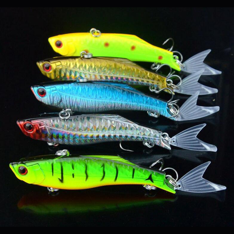 5 Pieces New Fishing VIB Lure 23g 8.3cm Artificial Vibration Lure with Spinning Tail Sinking Casting Fish Lure Rattle