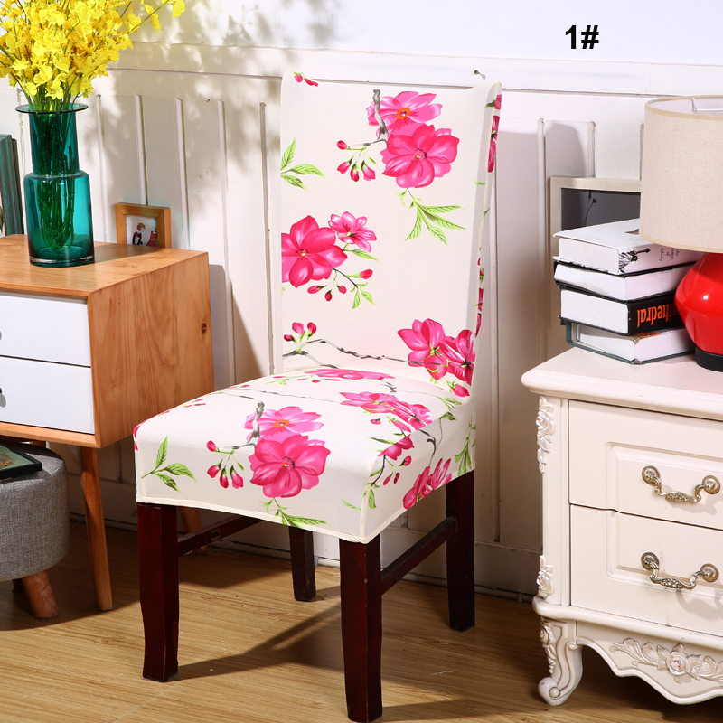 Removable Colorful Printing Elastic Slipcovers Dining Room Chair Cover Seat Cover for Chairs Wedding Dinner Restaurant