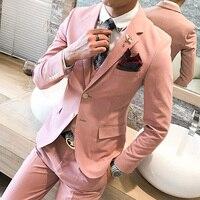 Вечерние платье для мужчин розовый смокинг блестящие Розовые Костюмы для выпускного мужская одежда дейтс свадебные, в Корейском стиле мужс