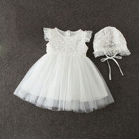 Summer Baby Girl Dresses With Cap White Lace Flower 1 Year Birthday Dress Infant Christening Gowns