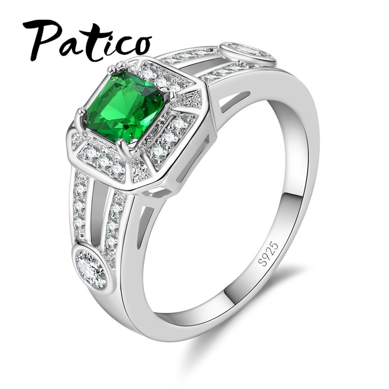 PATICO Shiny S90 Silver Rings for Women Austrian Crystal Paved Square Wedding Engagement New Fashhion Bague Jewelry