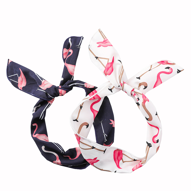 2019 Women Cute Cartoon Flamingo Printed Hairbands Headdress Rabbit Ears Headbands for Girls Scarf Bow   Headwear   Hair Accessories