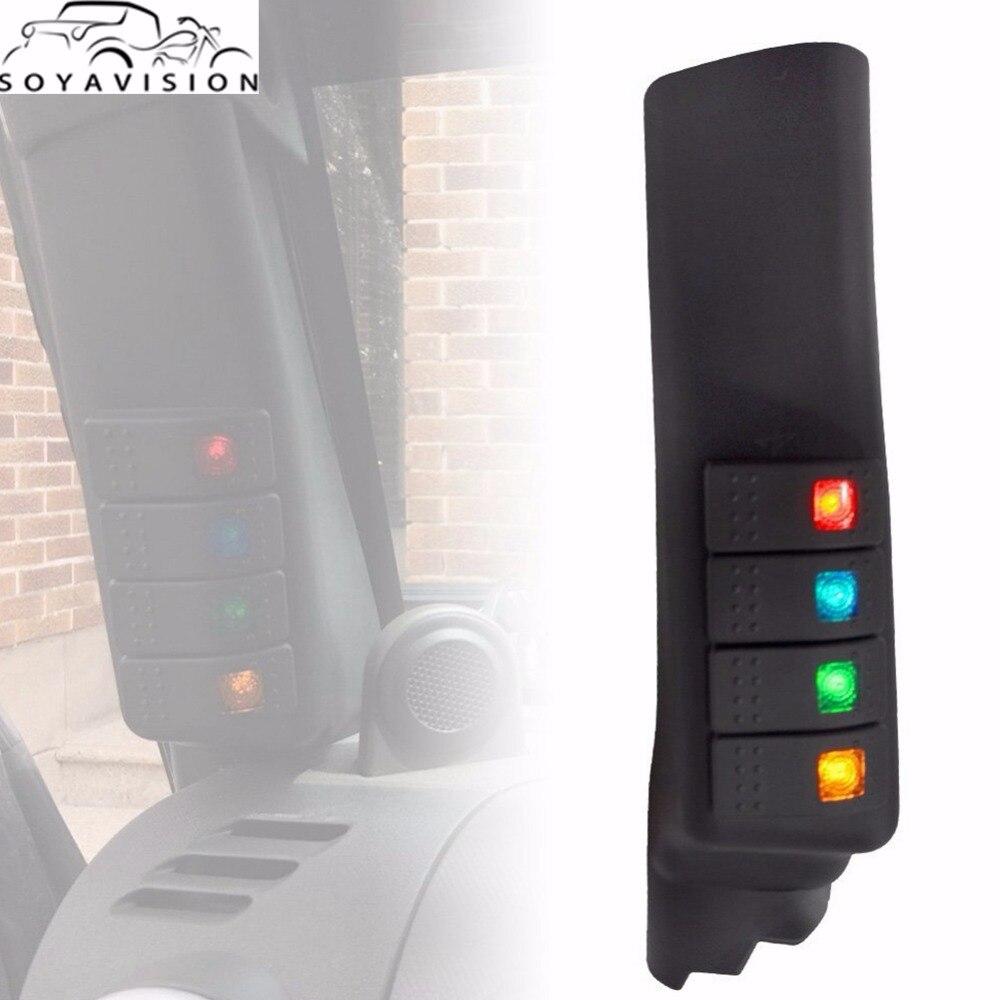 Rocker Light Switch >> SOYAVISION Black A Pillar Switch Left Hand Pod Panel 4 LED Rocker Switch for Jeep Wrangler JK 07 ...