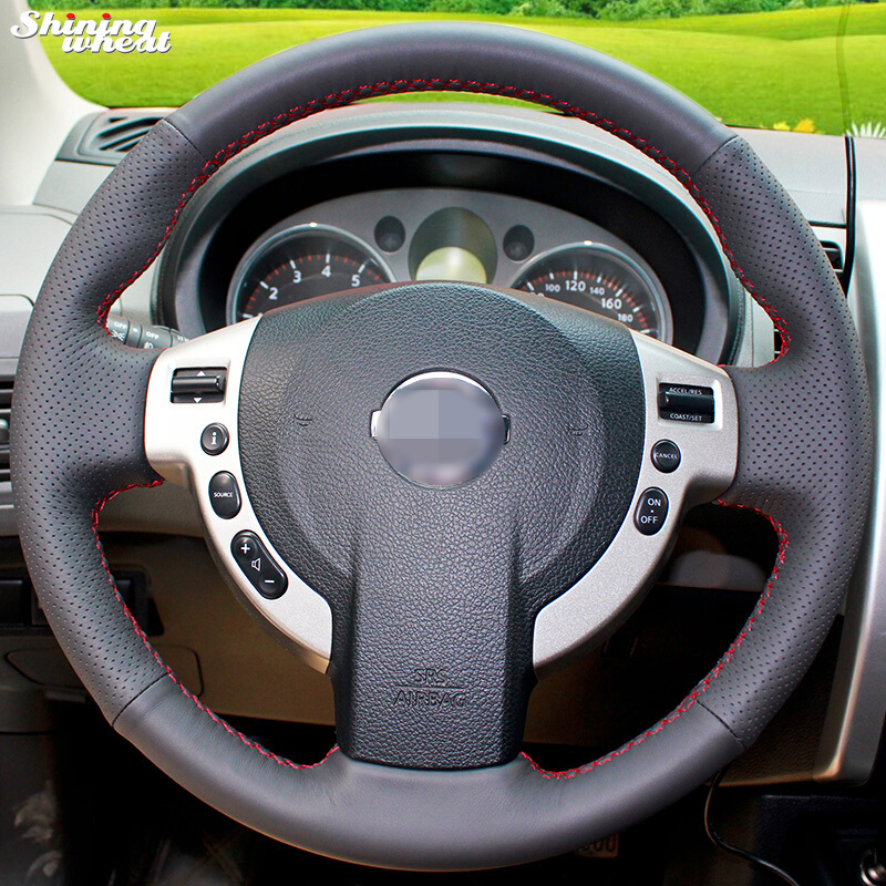 Shining wheat Hand-stitched Black Leather Steering Wheel Cover for Nissan QASHQAI X-Trail NV200 Rogue