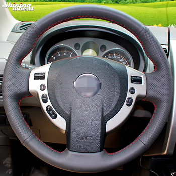 цена на Shining wheat Hand-stitched Black Leather Steering Wheel Cover for Nissan QASHQAI X-Trail NV200 Rogue