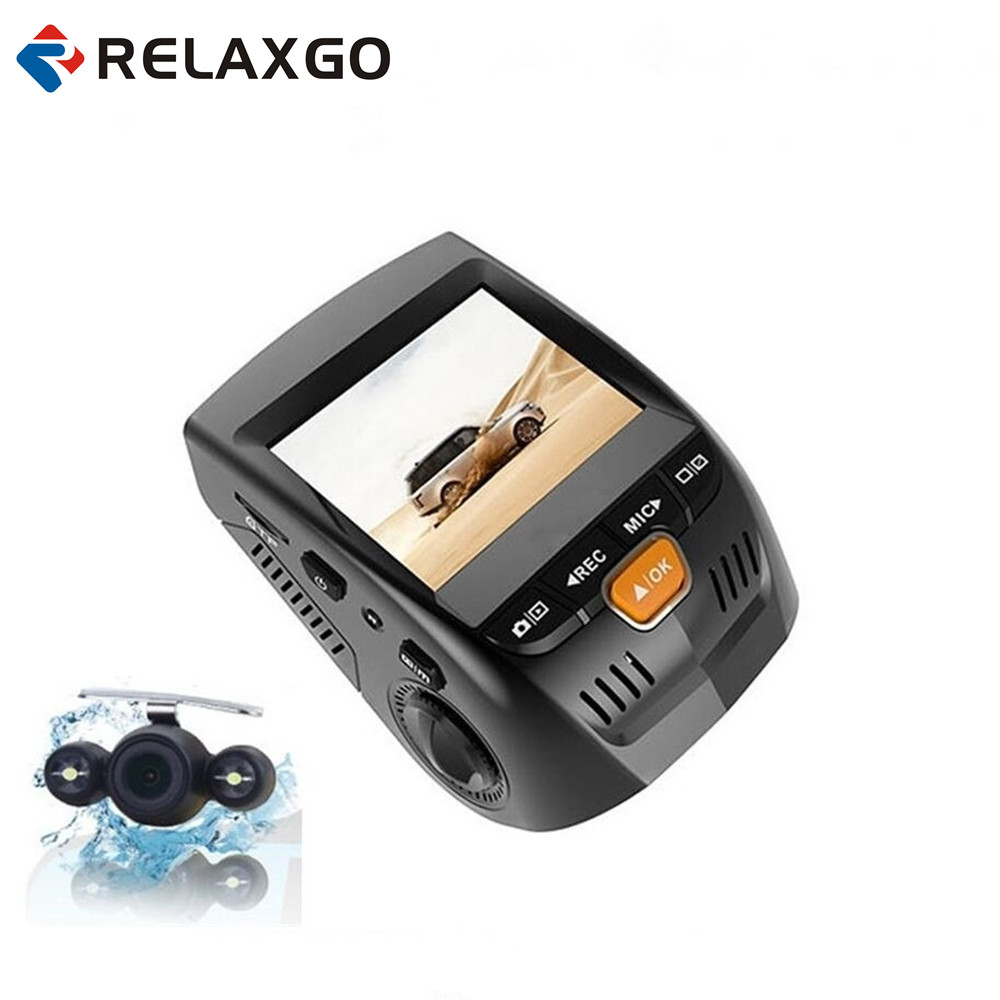 Relaxgo 2.4 Car Camera Dual Lens Mini Video Recorder Full HD 1080P Novatek 96655 Car DVR WDR Night Vision Dash Cam Black Box junsun car dvr camera video recorder wifi app manipulation full hd 1080p novatek 96655 imx 322 dash cam registrator black box