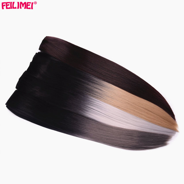 Feilimei 24 60cm 5 Clips Straight Ombre Synthetic False Hairpiece