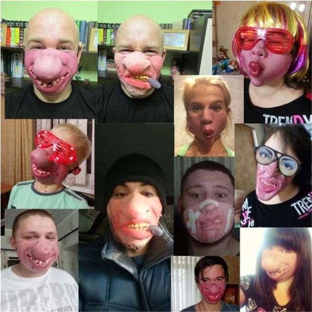 Funny Clown Mask Halloween Scary Masks  Half Face Horrible Mascara Masquerade Party Horror Masque Latex Realistic Silicone Maska 1