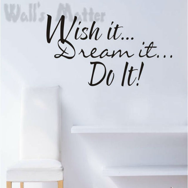 "Fre shipping:English word ""WISH DO DREAM""Decor Decal Vinyl Stickers / Room Sticker/Waterproof Non-toxic Matte PVC"