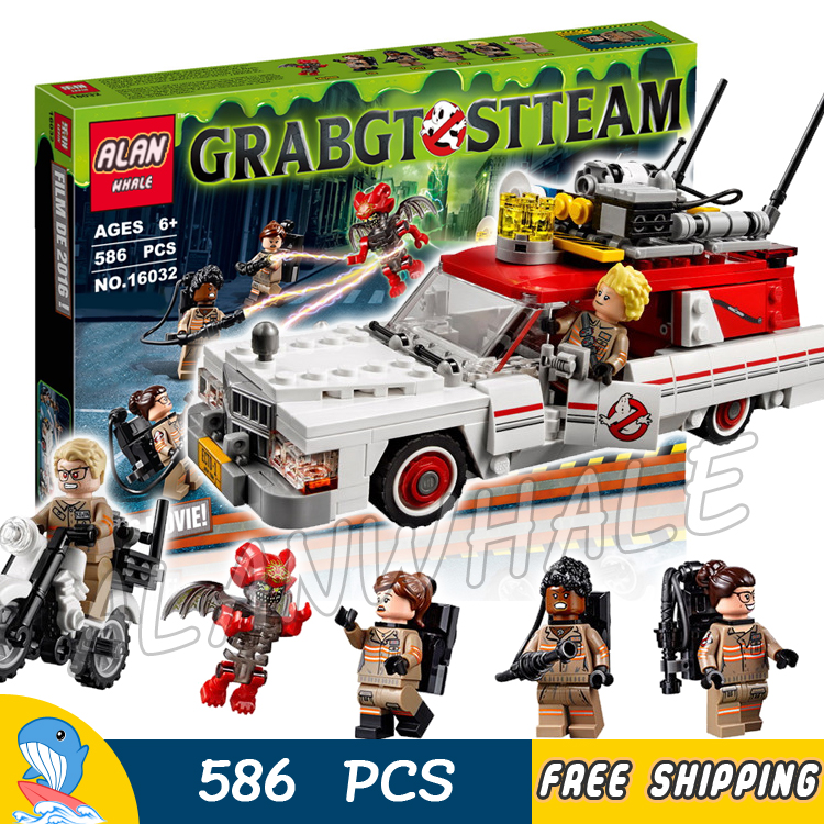 586pcs Ghostbusters Ecto-1 & 2 Movie Police cars 16032 Model Building Blocks Assemble Bricks Children Toys Compatible With Lego 356pcs city volcano supply helicopter 02004 police model building blocks assemble bricks children toys sets compatible with lego