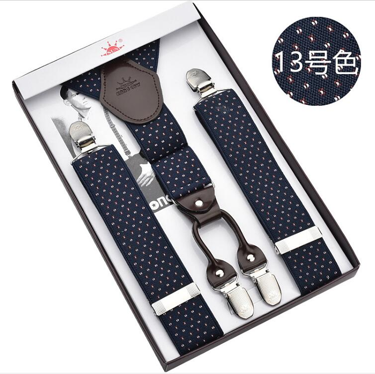 3.5cm Wide Suspenders For Men 110cm Long Suspenders Genuine Leather 4 Clips Classic