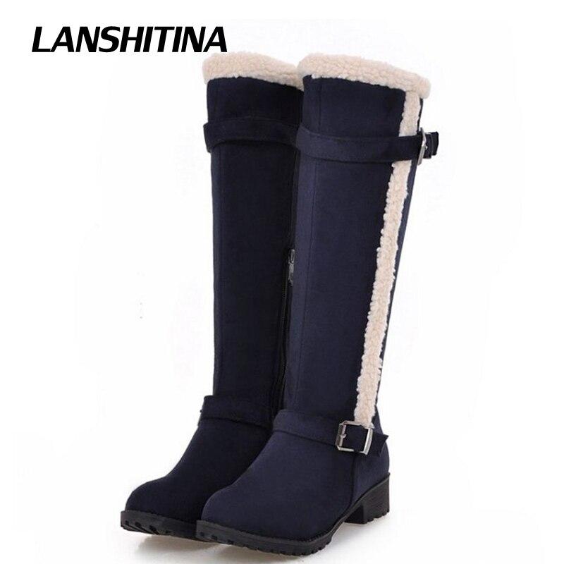 LANSHITINA Women Knee Boots Fur Long Boots Women Flat Boots Botas Winter Warm Mujer Woman Bota Fashion Sexy Shoes