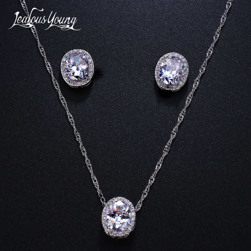 Fashion Round Zirconia Wedding Jewelry Sets for Women Gift Crystal White Gold Color Earrings and Necklace Jewellery Set