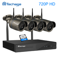 Techage 4CH 720P HD Outdoor IR Night Vision Home Surveillance Security IP Camera WIFI CCTV System
