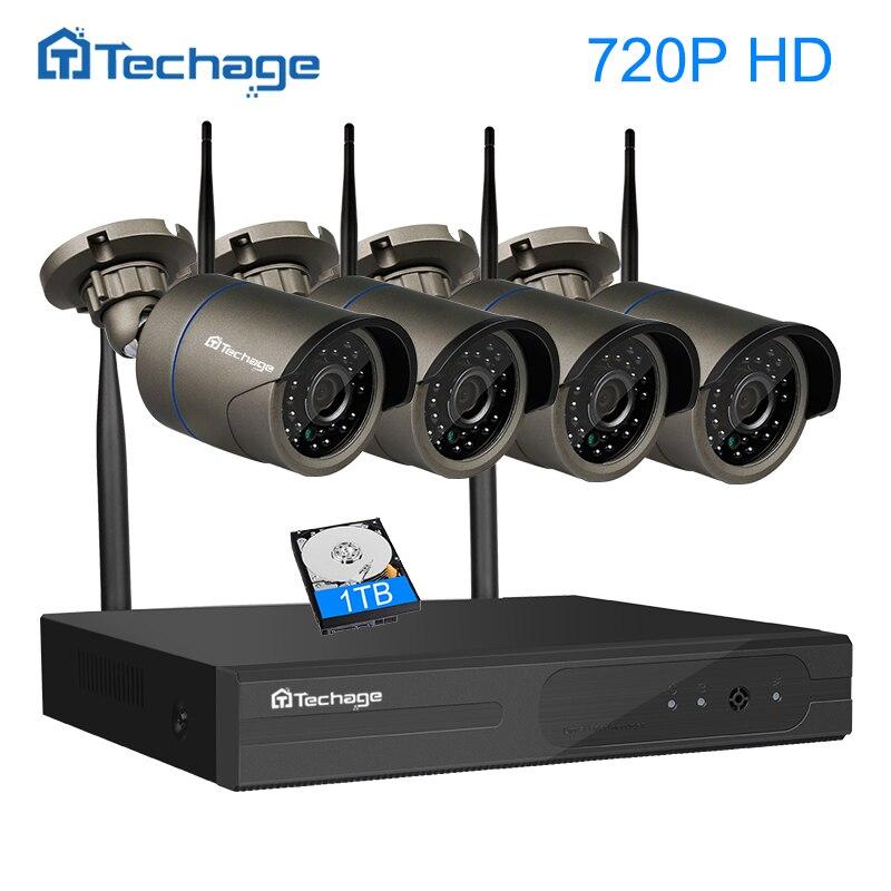 Techage Plug and Play 4CH 1080 P HD Wireless NVR Kit P2P 720 P Indoor Outdoor IR Night Vision Security Ip WIFI CCTV sistema